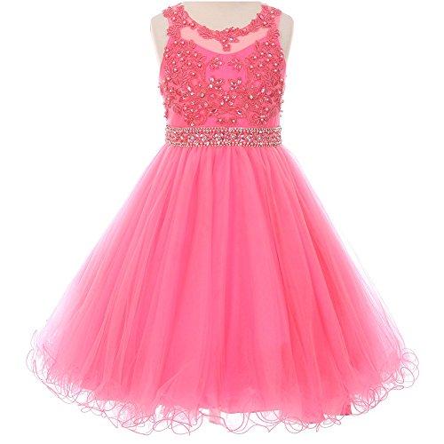 Little Girls Rhinestones Pearls Beaded Lace Bodice Waistline Flower Girl Dress Bubble Pink - Size (Waist Beaded Bodice)
