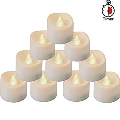 Homemory Set of 12 Timed Tea Lights, Battery Operated LED Tea Lights with Timer and Flickering Flame