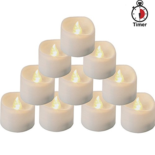 Homemory Battery Tea Lights With Timer, 6 Hours on and 18 Hours Off in 24 Hours Cycle Automatically, Pack of 12 Timing LED Candle Lights in Warm (Battery Operated Votive)