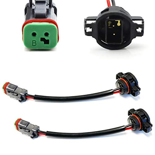iJDMTOY (2) Heavy Duty Wirings Fog Light Converter Adapters From 5202/2504/PSX24W To Deutsch DT DTP Connectors, Good For Cubic LED Pod Lights, LED Light Bar, LED Work Lamps, etc ()