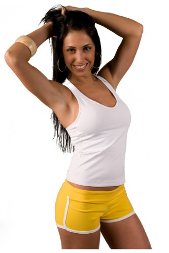 (Lino Fitness Low Rise Sports Wear Shorts for Women M-L yellow-white)