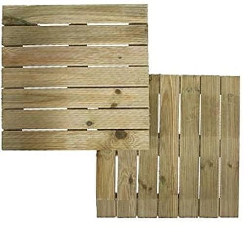2 x 45cm Square Garden Wooden Decking Tiles