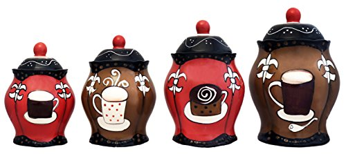 Hand Painted Rooster Design - Tuscany Hand Painted Fleur De Lis Coffee Design, Canister Set of 4, 85101/5JJHG by ACK