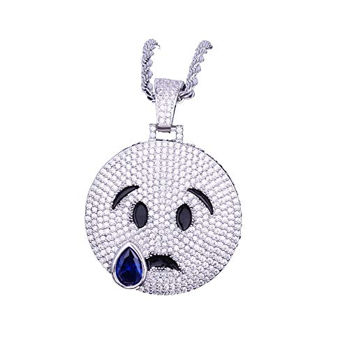 (LC8 Jewelry Hip Hop Emoji Bubble Smile-Sad Face Iced Out Bling CZ Pendant with 24