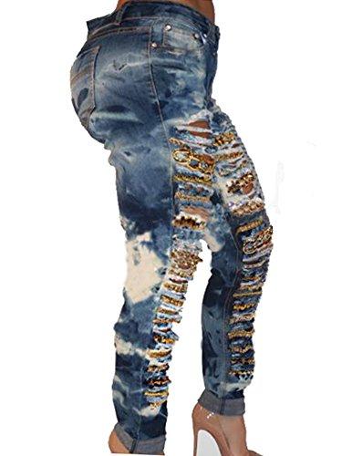 Rotos Mujer Agujero Denim Fit La Elásticos Slim Skinny Como Jeans Imagen Ocio Vaqueros Cadena r8qxFw0r