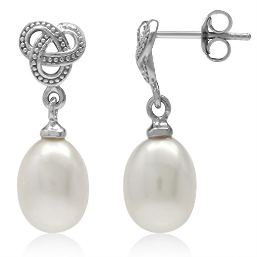 (Cultured Freshwater White Pearl 925 Sterling Silver Celtic Weave Knot Dangle Post)