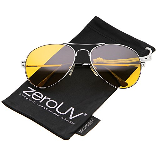 zeroUV - Classic Metal Frame Colored Teardrop Lens Aviator Sunglasses 57mm (Silver / - Aviators Orange Tinted
