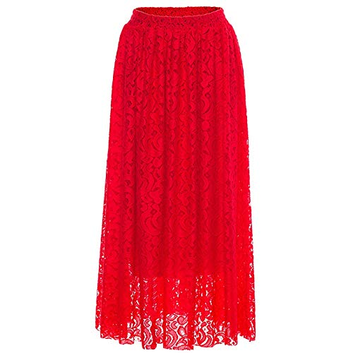 Color : Red, Size : S Anna morales Wholesale Europe and America Slim Elastic Waist Womens Half-Length Dress Big Swing Skirt Lace Skirt