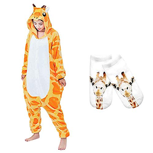 Mescara Onesies Adult Costume Anime Giraffe Halloween Pajamas Set Unisex Homewear Socks Orange ()