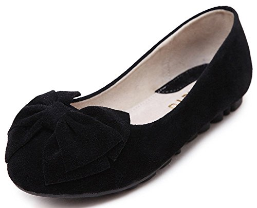 Women's Round Toe Flat Loafers Sweet Casual Shoes with Bow Black - 8