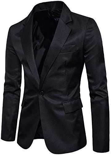 Men's Long Sleeves Peak Lapel Collar One Button Slim fIT Sport Coat Blazer, Black, L/42R = Tag 3XL