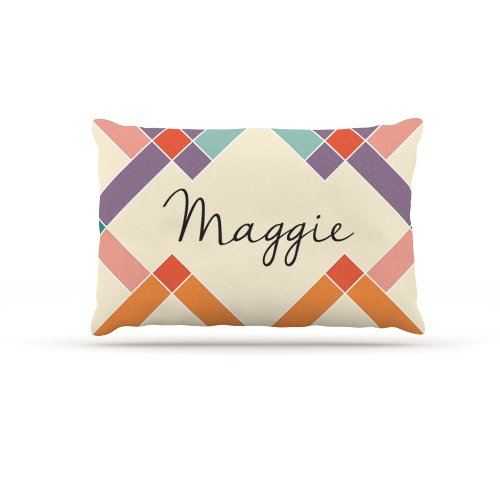Large 30\ Kess InHouse Maggie  colorful Geometry Name Fleece Dog Bed, 30 by 40-Inch, Rainbow Tan