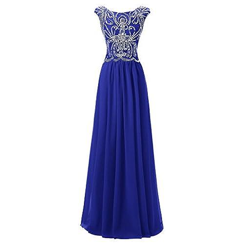 Royal Blue Cap Sleeve Prom Dress: Amazon.com