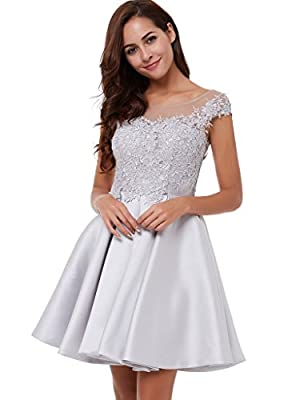 CLOCOLOR Women's Satin Cap Sleeve A Line Lace Applique Short Homecoming Party Dress