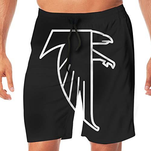 (Mens/Men's Atlanta Freddie Falcon Summer Beach Shorts Casual Pants Printing Quick Dry Beach Shorts Swim Trunk White)