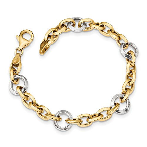 14k Two Tone Charms - ICE CARATS 14k Two Tone Yellow Gold Link 7 Inch Bracelet Fancy Fine Jewelry Gift Valentine Day Set For Women Heart