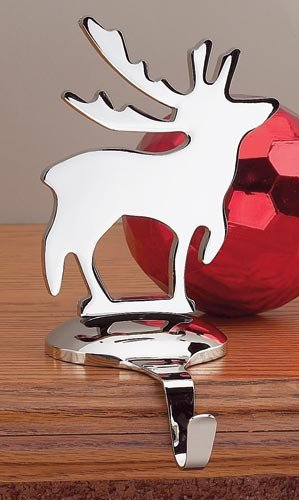 Creative Gifts Reindeer Stocking Holder, Nickel Plated.