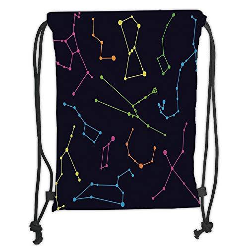 New Fashion Gym Drawstring Backpacks Bags,Constellation,Colorful Astronomic Illustration Science Ursa Major Minor Polaris Celestial,Multicolor Soft Satin,Adjustable String Closure