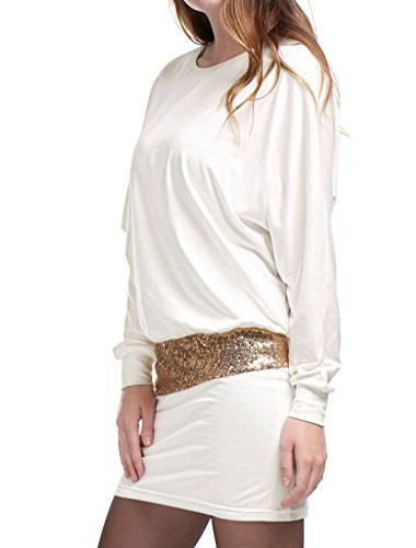 Blouson White K Accent Party Sequins Sleeves Dress Batwing Mini Women's Allegra xvq7wdYY
