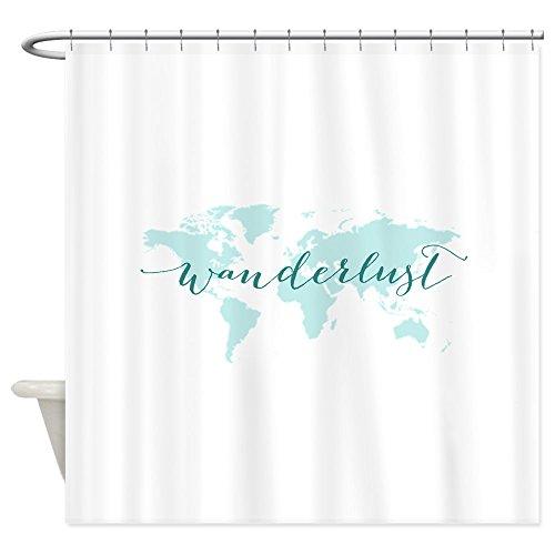 CafePress Wanderlust, teal world map Shower Curtain - Dec...