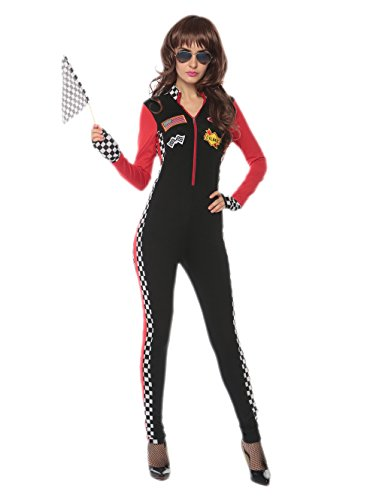 Adult Sexy Racer Girl Costumes (Sexy Racer Costume - Womens Racer Costume Halloween Race Girl Jumpsuit)