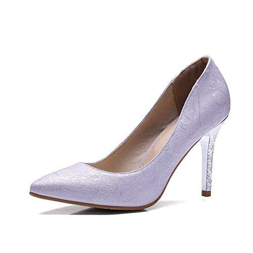 VogueZone009 Damen PU Ziehen auf Spitz Zehe Hoher Absatz Rein Pumps Schuhe Lila