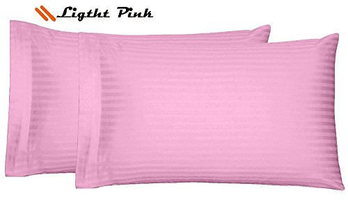 lection Luxury Sateen Two (2 Pieces) Pillow Covers Egyptian Cotton 400 Thread Count Pillowcases-King Size Light Pink Striped ()