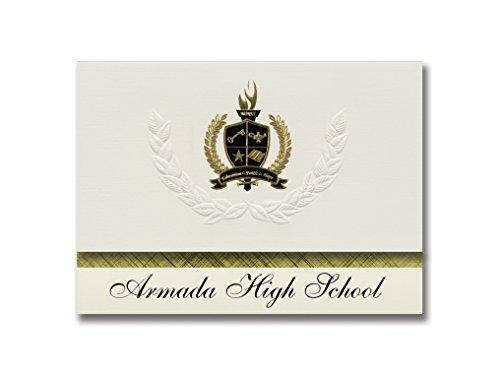 Signature Announcements Armada High School (Armada, MI) Graduation Announcements, Pack of 25 with Gold & Black Metallic Foil seal, 6.25