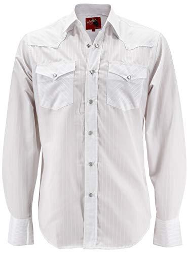 (Rodeo Clothing Men's Premium Western Cowboy Pearl Snap Long Sleeve Plaid Shirt (PS504 White, L))