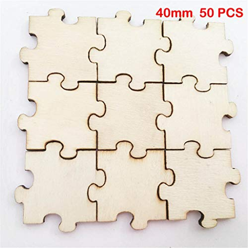 Volity Livoty Toddler Development Toy - 50PCs Wood Puzzle Embellishment Wooden Shape Craft Wedding Decor DIY Craft (S,M,L)