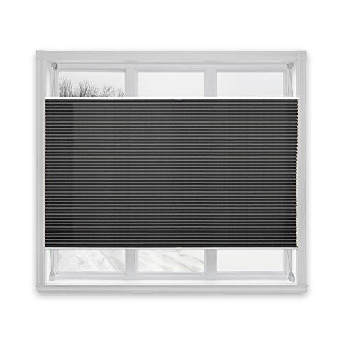 casa pura® Plissee Rollo | mit eleganter Crushed Optik | auch ohne Bohren anbringbar | lichtdurchlässig & blickdicht | schwarz | viele Größen (55x150cm)