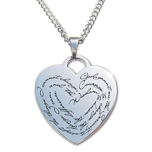 (Serenity Prayer Stainless Steel Heart Pendant Necklace)