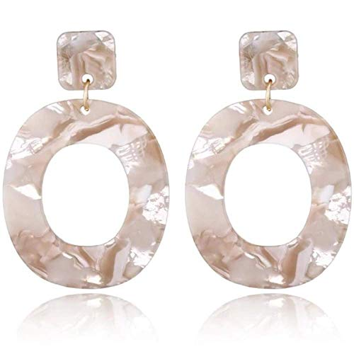 Statement Acrylic Earrings for Women:Big Geometric Plastic Retro Dangle for Women (Champagne (small))