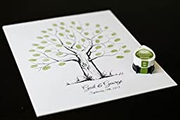 Fingerprint Tree custom wedding guestbook - Original thumbprint guest book alternative (Small Size Ink) includes 1 ink pad!!