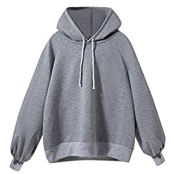 Women Lantern Sleeve Sweater,women's Long Sleeve Loose Thin Hooded Blouse Anjunie Casual Tops(gray,s
