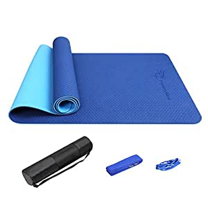 FrenzyBird Eco-Friendly,Reversible,Non-Slip,Double-Sided TPE Yoga Mat with Stretch Strap,Carry Strap and Mat Bag, Free of PVC and Other Harmful Chemicals, Extra-Thick,Ideal for Yogis