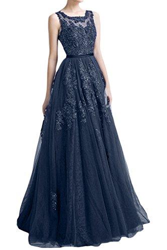 a de Azul Punta tuell applikation ressing de noche Elegante para largo línea vestido Fiesta ivyd Mujer vestido Vestido Prom waXAxwC