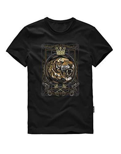 Crown Mens T-shirt - ITALY MORN Men Short Sleeve Crew Neck Graphic T-Shirts M B-Crown Tiger