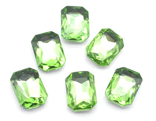 Catotrem Glass Diamante Faceted Octagon Rectangle Rhinestone Pointback Stone for Arts Crafts 10X14mm 50Pcs(Green)