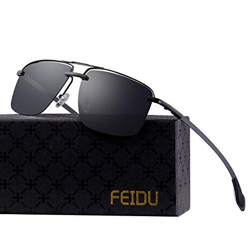 38f8ba6533 FEIDU Mens Polarized Aviator Sunglasses Metal Frame Unisex Sun Glasses  FD9001(Black8) - Buy Online in Oman.