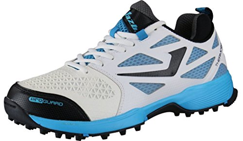 JAZBA Men's SKYDRIVE 110 PU Mesh KPU Cricket Shoes (Euro 41, White/Black/Cyan Blue)