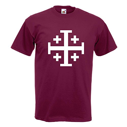 15 In T Borgogna Croce L Xl Diversi shirt Gerusalemme Xxl Cotone Print Colori S Pattern Fun Di Modello M Man RqSIX