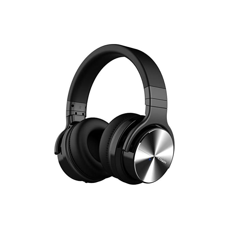 COWIN E7 Pro [2018 Upgraded] Active Noise Cancelling Headphone Bluetooth Headphones Microphone Hi-Fi Deep Bass Wireless Headphones Over Ear 30H Playtime Travel Work TV Computer Phone - Black