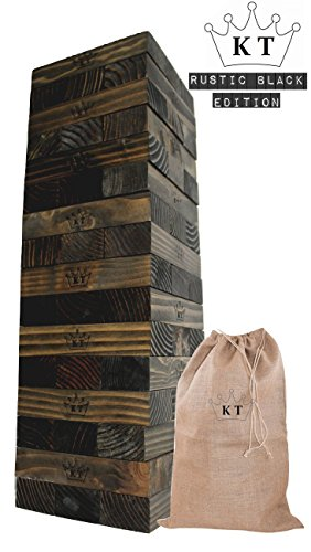 GLOconceptsUSA KINGS TOWER - New Rustic Black Limited Edition - Giant Block Stack & Tumble Game - Rustic Storage Bag - Protective Stain & Engraved Giant Tumble Tower