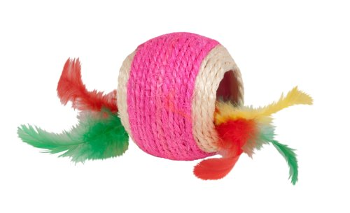 Boss Pet Chomper Kylie's Brites Feather Jute Ball Toy with F