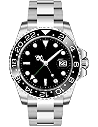 Sapphire Parnis 40mm Black Sterile Dial Ceramic Bezel Luminous GMT Function Automatic Movement Men's Watch