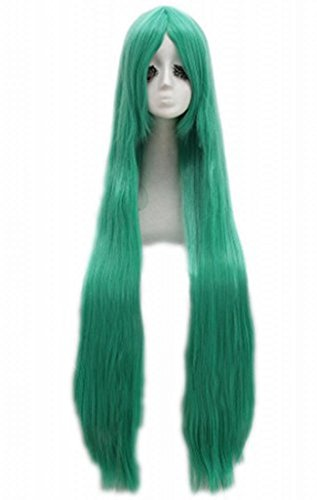 Long Straight Costume Wig Green