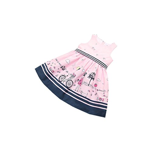 Clearance! Striped Belt Print Girls Dress Baby Girls Pink Sleeveless Party Princess Pageant Dresses (Clearance Baby)