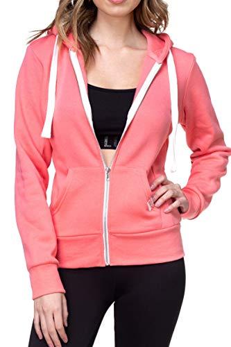 Urban Look Womens Active Long Sleeve Fleece Zip Up Hoodie (X-Large, B1 Solid Peach)
