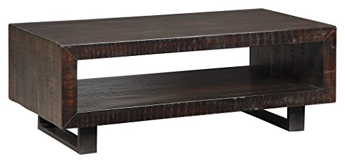 - Ashley Furniture Signature Design - Parlone Contemporary Rectangular Cocktail Table with Shelf Storage - Brown/Black